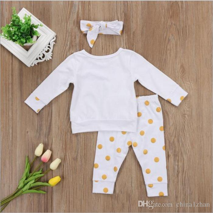 Xmas Ins Girls Clothing Conjuntos Otoño Baby T-shirt Pantalones largos Big Bow Headbands Sets Niños Ropa Unicornio Polka Gold Dot Printing DHT185