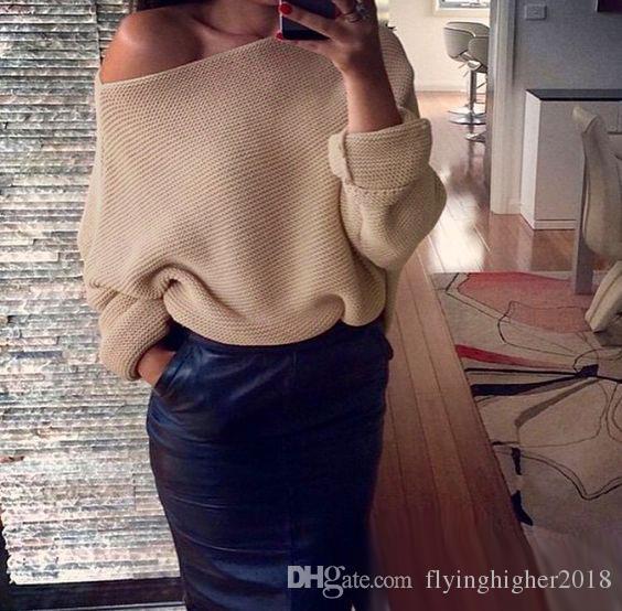 7 Renkler Off-Omuz Kazak Kadın Kızlar Uzun Batwing Kollu Gevşek Örgü En Moda Sonbahar Kış Triko Streetwear