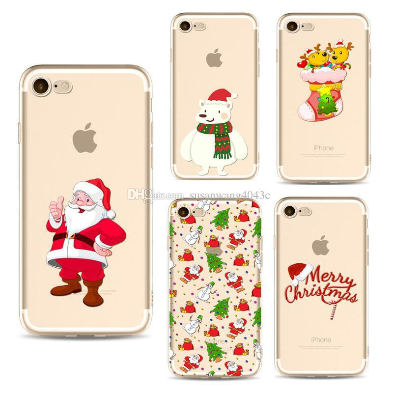 christmas phone cases for iphone7 iphone 8 7 6 6s plus x soft tpu protective cover case santa claus design defender case gift case gsz371 cell phone cases