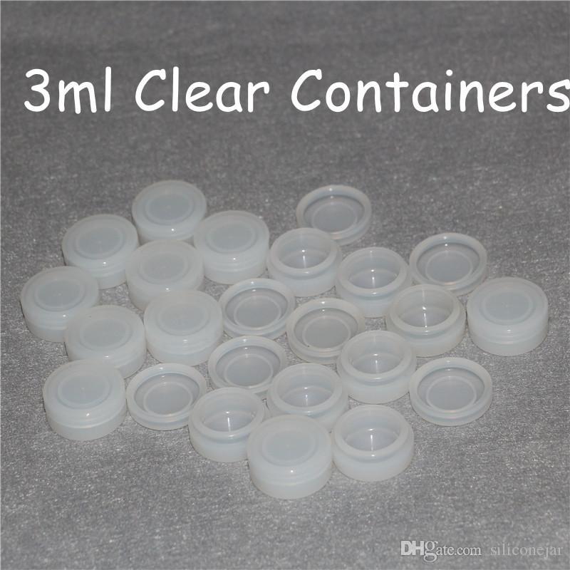 Depolama Silikon Konteynerler saydam silikon kavanoz 3 ml temizle Silikon konteyner yapışmaz gıda sınıfı balmumu kavanozlar dab yağ kavanoz konteyner DHL