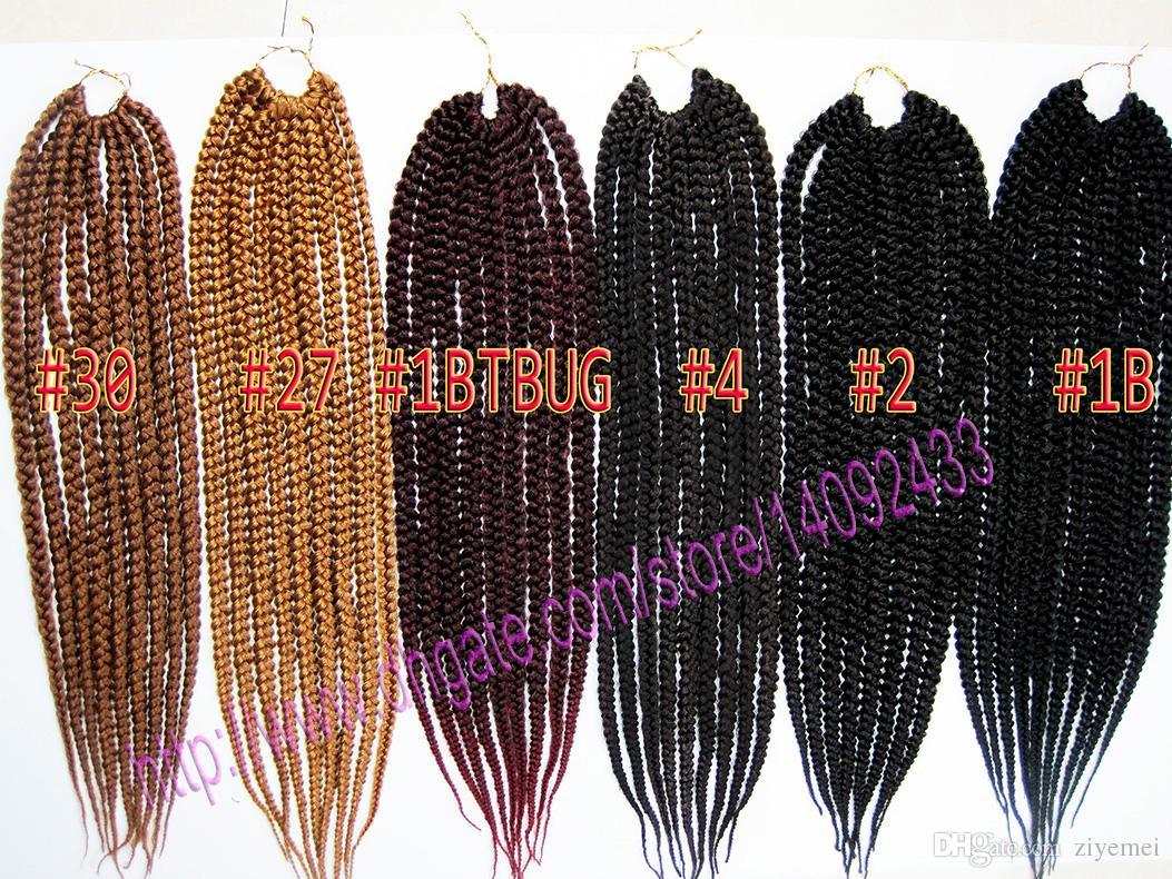 Caixa de corda de crochê trança extensões de cabelo kanekalon fibra sintética dookie tranças 6 cores pode ser escolher frete grátis