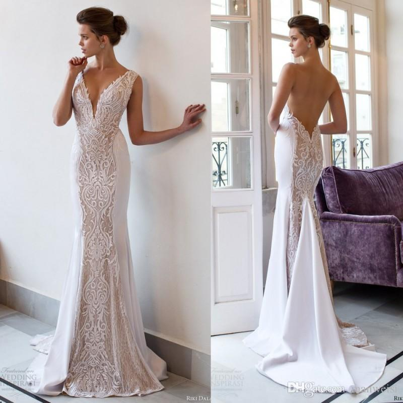 Riki Dalal 2018 Mermaid Vintage Wedding Dresses Backless Deep V Neck ...