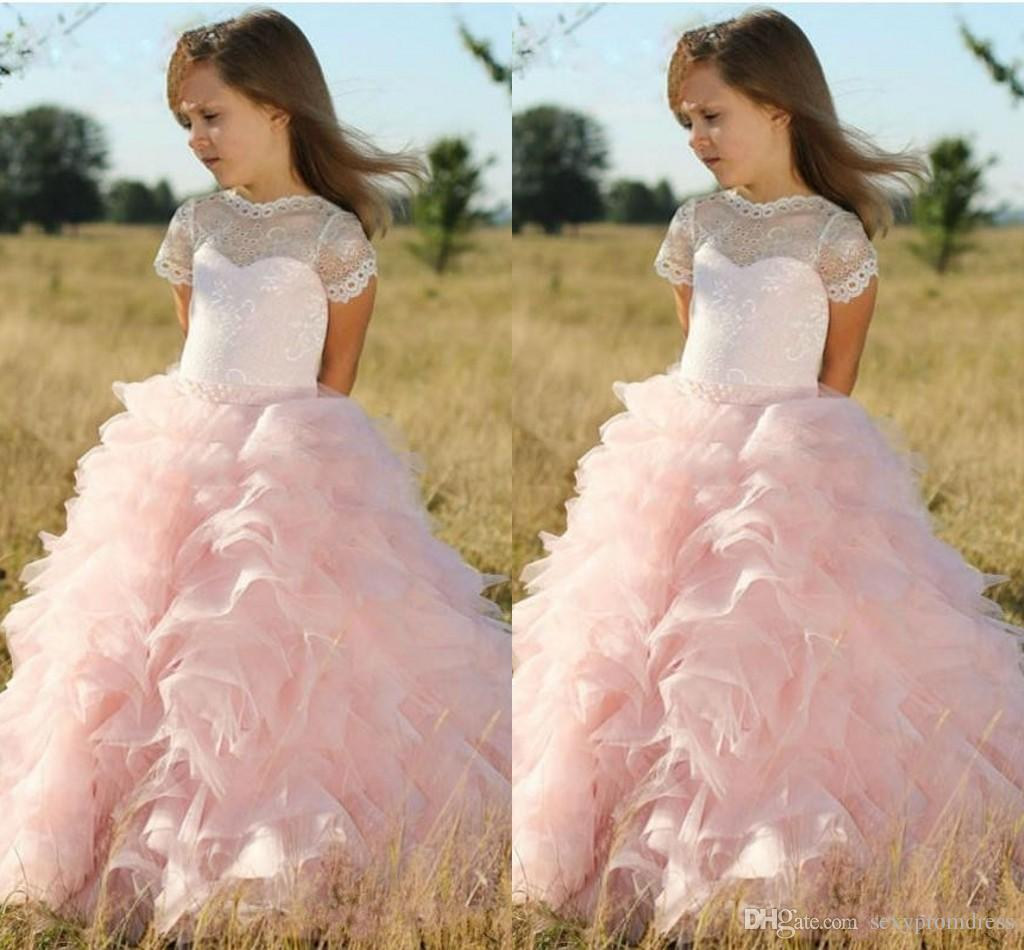 Pink Princess Ball Gown Flower Girl Dresses Sheer Lace Jewel Neck