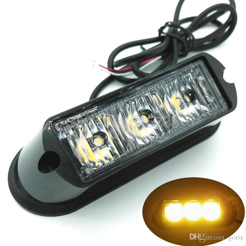 2 unids 3 LED Coche Impermeable Carro de Emergencia luces de advertencia de destello del coche auto lightbar led luz estroboscópica