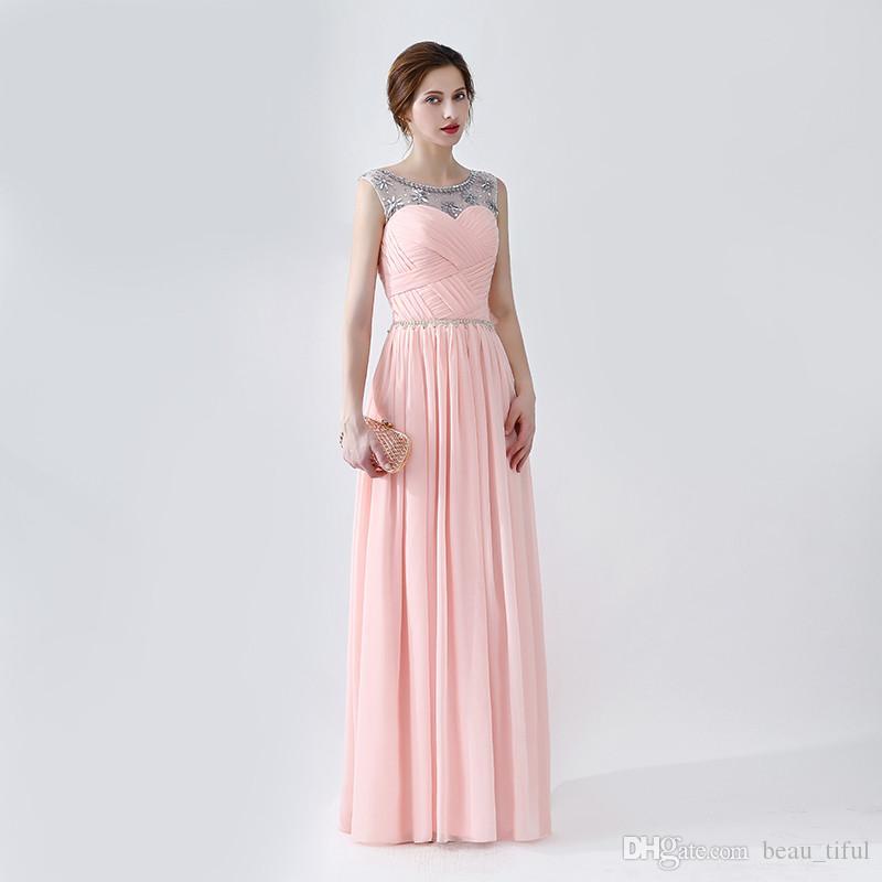 Compre Elegantes Vestidos De Baile Escote Redondo Crystal Floor ...