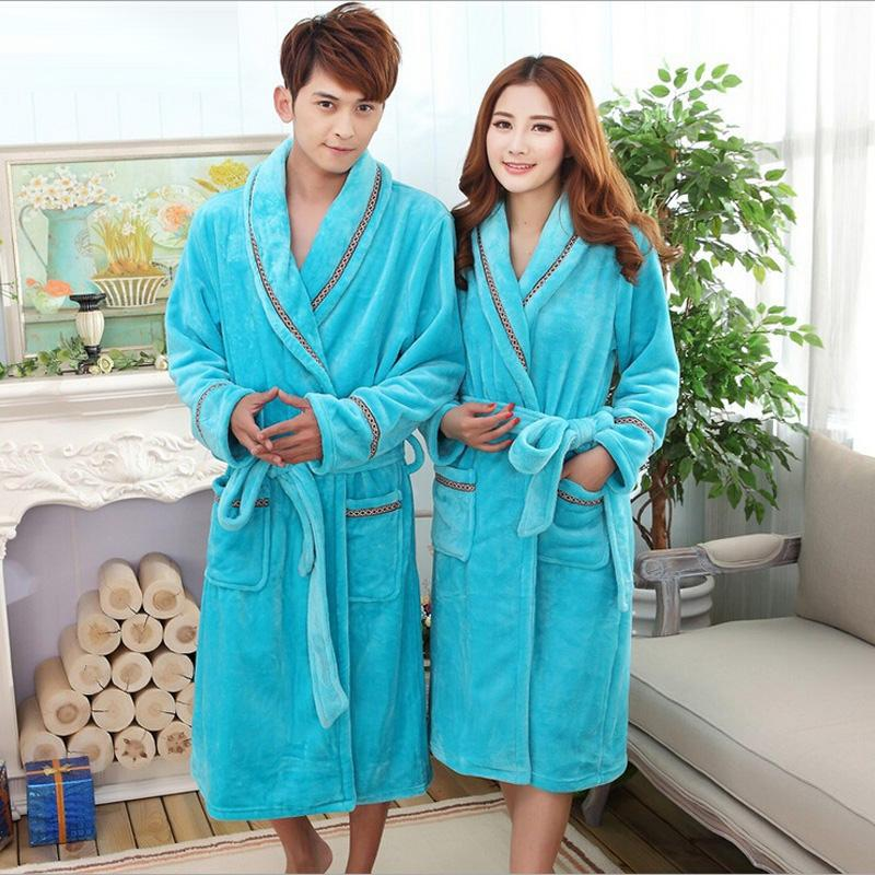 2019 Wholesale 2017 Winter Warm Coral Fleece Couples Bathrobes Long Sleeved Bath  Robe Male Female Thickening Bathrobes Dressing Gown Peignoir From ... 9d77a6359
