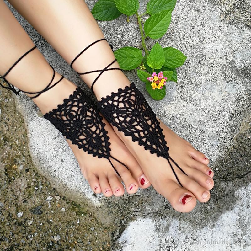 Beach wedding Crochet Barefoot Sandals,Nude shoes,Wedding barefoot sandal,Foot jewelry,Victorian Lace,Yoga,Anklet,Steampunk,Wedding