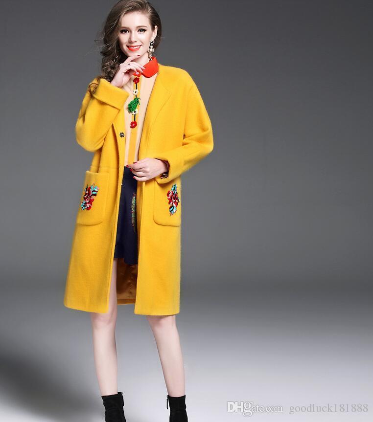 Invierno Otoño Mujer Abrigos Lana De Moda Nuevo Amarillos Compre B1qxFF cde339c61637