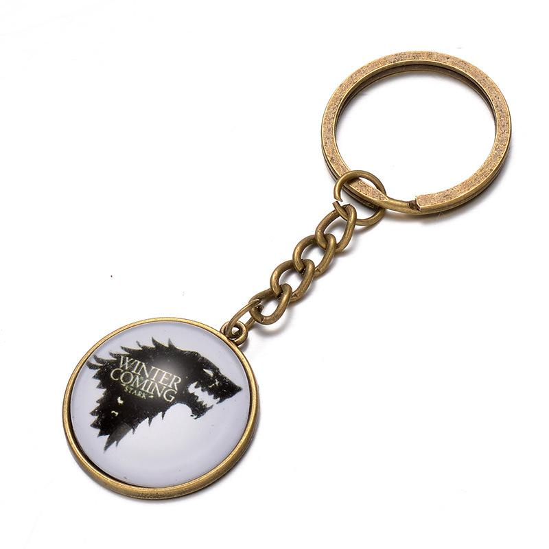 Song of Ice and Fire Game of thrones House Stark wolf keychain cabochon Time gemstone key ring keyring men women handbag hangs 240342