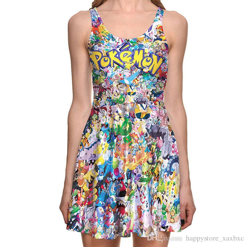 4cf561ce51 2018 NEW 1274 Summer Sexy Girl Skater Vest Dress Fashion Cartoon Cute  Pikachu Pocket Monster Prints Women Beach Pleated Dress Plus Size