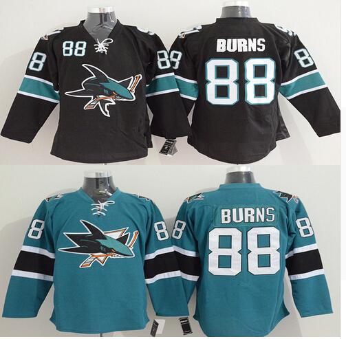 ... 2017 MenS Brent Burns Jersey San Jose Sharks 88 Brent Burns Home Black  Green Stitched Embroidery ... 4a97a2aa5