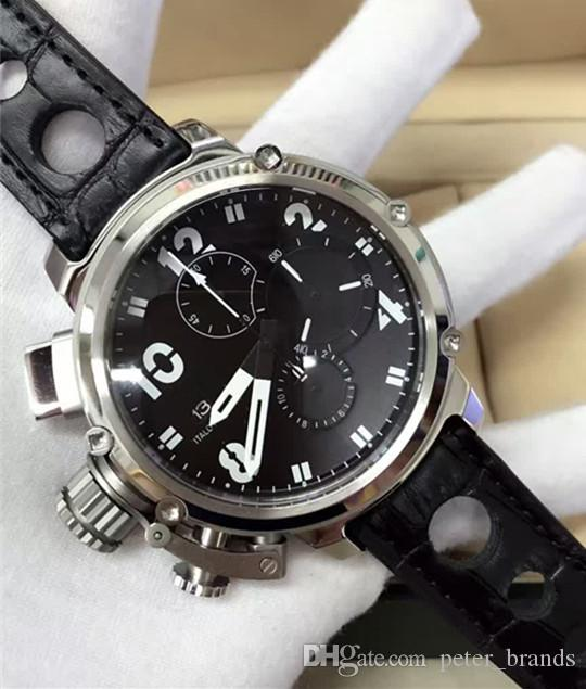 Cronógrafo movimiento de cuarzo Reloj de moda para hombre Reloj de pulsera de cuero de diferentes colores Relojes