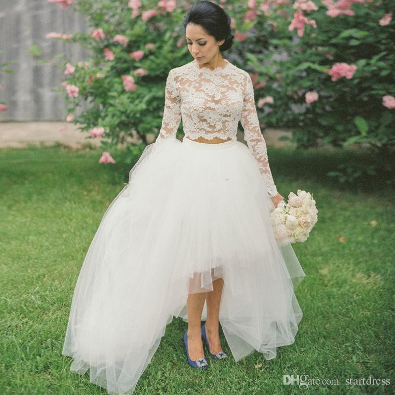 Discount Designer White High Low Wedding Dress Sexy Keen Length