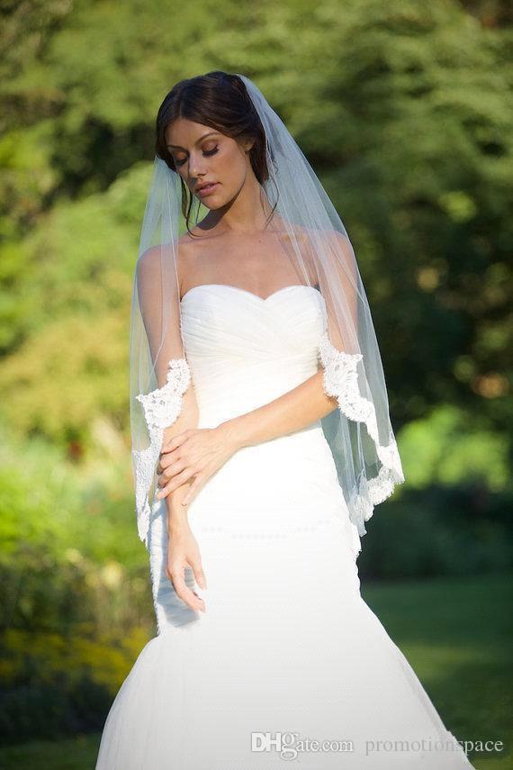 2016 Gratis frakt för att nå Veil Lace Short Design Single Wedding Brudens midja Long Hair Comb CPA323