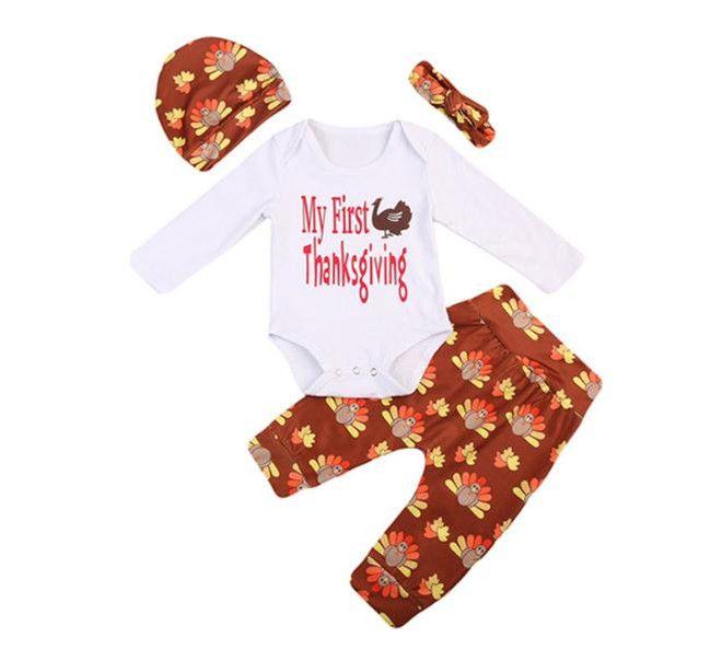 fcfd8d9c80fdb 2017 Baby Rompers Clothing Sets Boys Girls Letters Toddler Romper Floral  Pants Headbands Caps 4Pcs Set Cotton Boutique Infant Clothes Suits