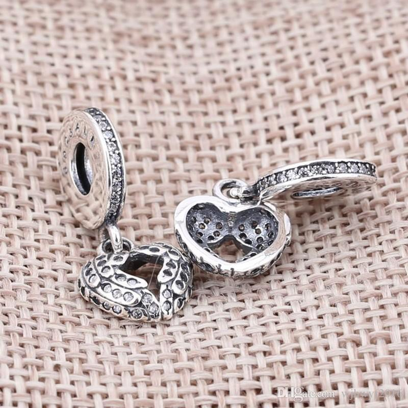 Angel Wings Dangle Charms With Micro Clear Crystal & Open-type Heart Charm 925 Sterling Silver Jewelry Fit Beads Bracelet DIY BF5