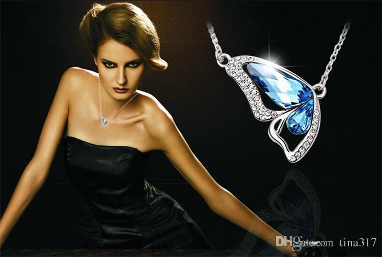 Nouveau S925 coréenne danse papillon pendentif en cristal pendentif colliers boutiques commerce extérieur sources femmes bijoux 2337-8