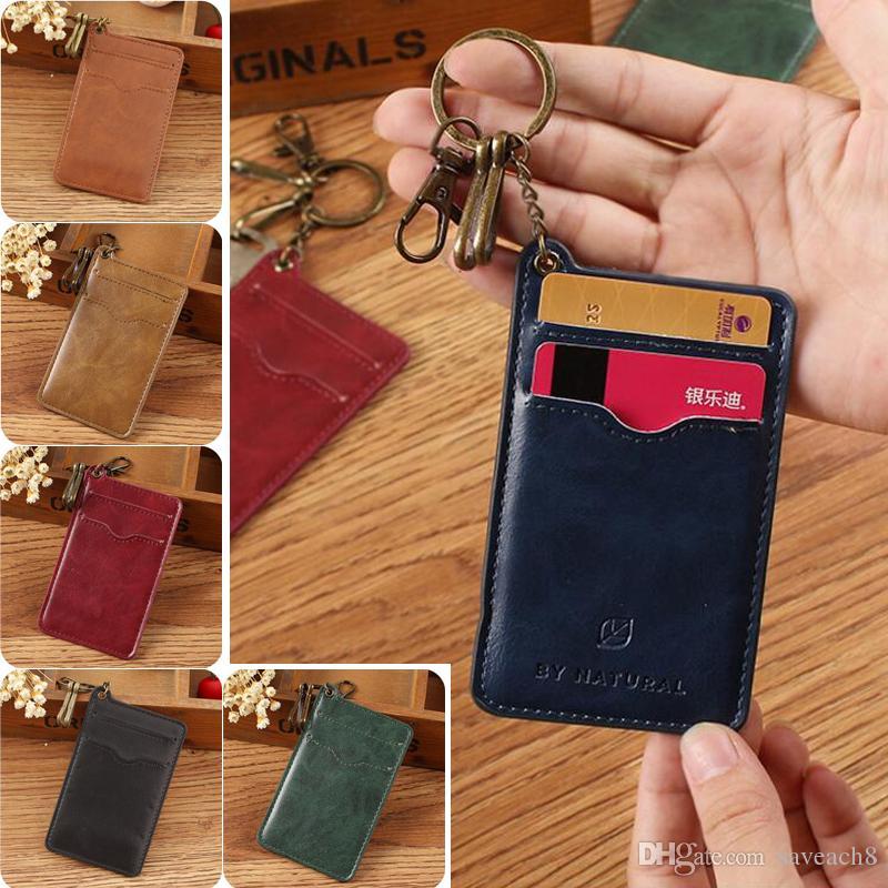 pocket pu leather id bank credit card case holder keychain keyring thin card wallet men pack bus card holder organizer key holder key chains from saveach8 - Card Holder With Keyring