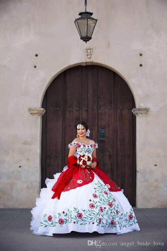 2017 Elegant Red White Satin Ball Gowns Embroidery Quinceanera Dresses With Beads Sweet 16 Dresses 15 Year Prom Gowns QS1011