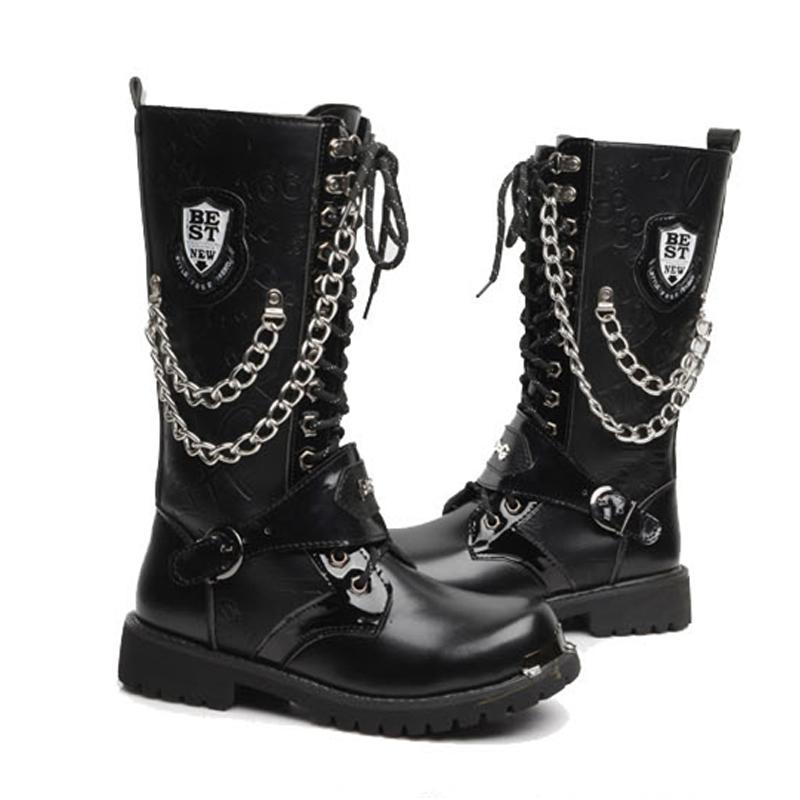 ad8945212d Size 39-45 Black Army Boots Men Military Leather Combat Boots Metal Buckle  Male Motorcycle Boots Punk Style