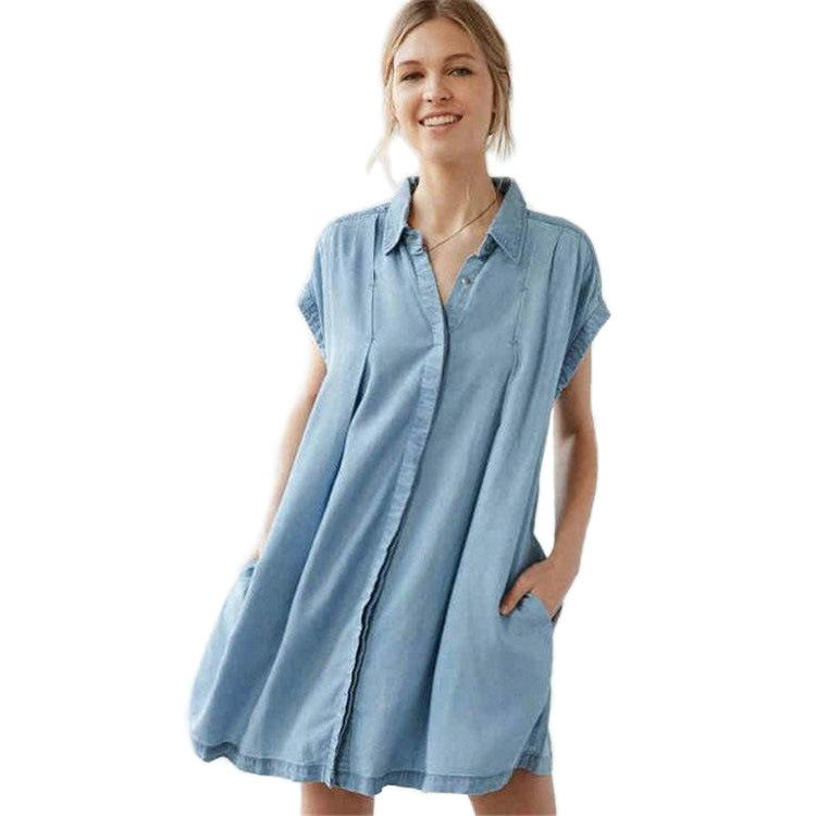 New Fashion Women Clothing Denim Dress Casual Loose Short Sleeved T