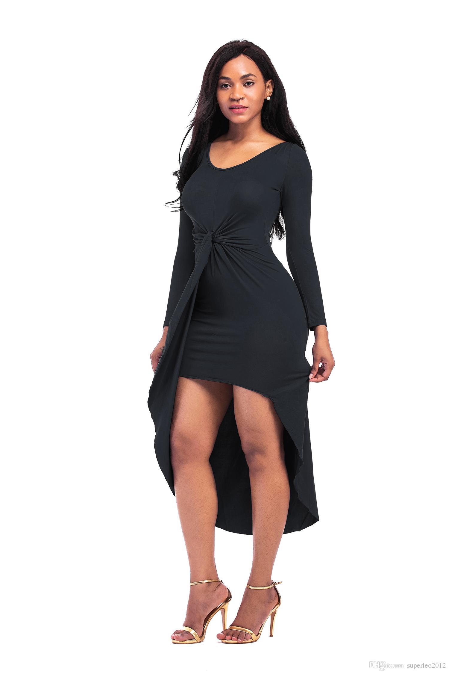 Robe mi-longue à manches longues pour les femmes à col en U Robe irrégulière avec croix Bowknot style décontracté Robe moulante Coton et Soie pour Printemps Automne 5012