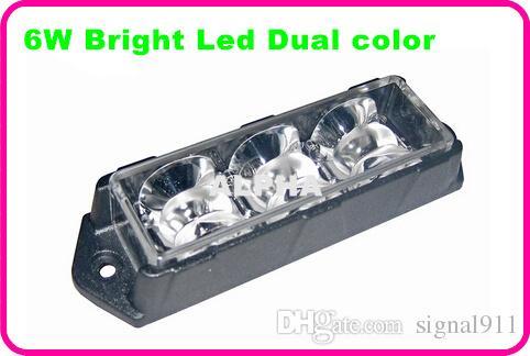 Bright Dual color 6Leds*3W car strobe warning light,truck emergency lights,lightheads,police light,waterproof