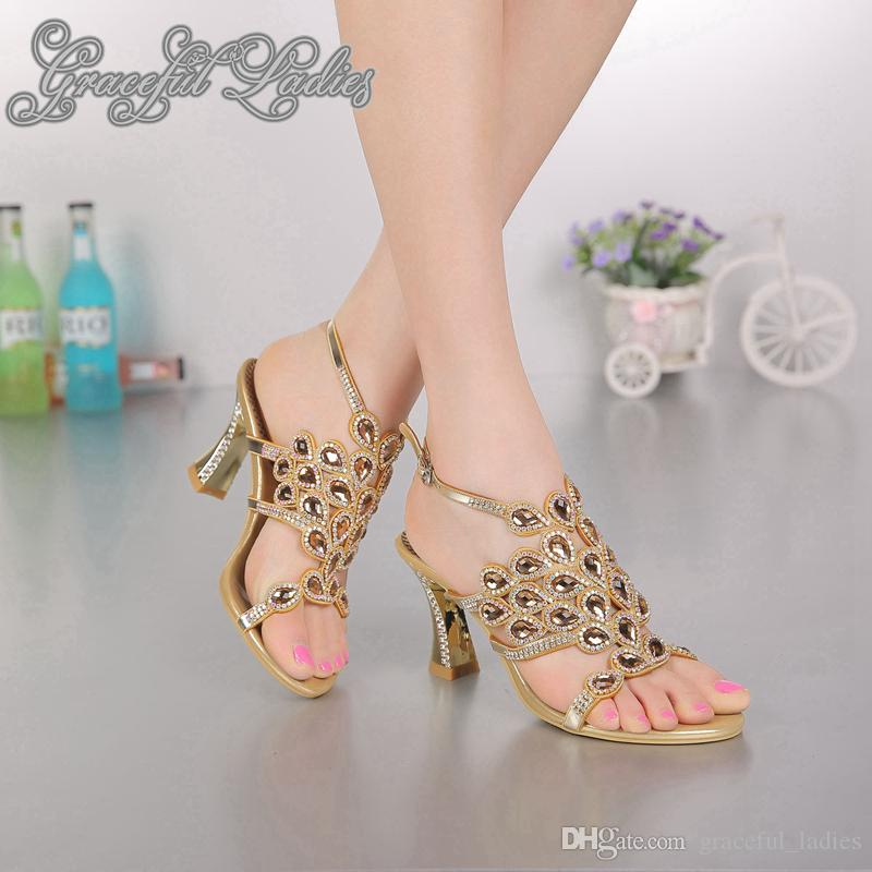 Gold wedding shoes square med heel 8cm crystal bridal wedding gold wedding shoes square med heel 8cm crystal bridal wedding sandal shoes open toe bridal shoes gold sandals shoes women ladies sandles evening shoes for junglespirit Gallery