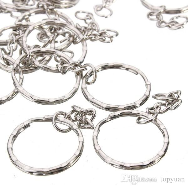 50 Stücke 55mm Schlüsselring Rohlinge Silber Ton Keychain Schlüsselanhänger Split Ringe 4 Gliederkette