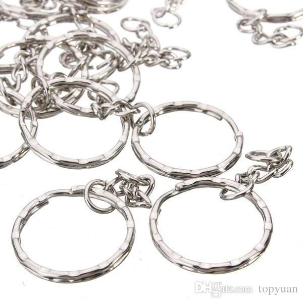 55mm Blanks portachiavi Tono argento portachiavi Key Fob Split Rings 4 Link Chain