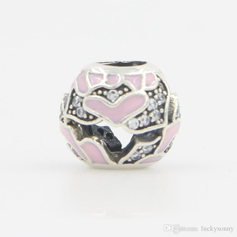 Silver Beads Round Shape with Enamel Pink Heart CZ Cubic Zirconia Diamond Bead Spacer European Bead Charm Fit For Charm Bracelet DIY Jewelry