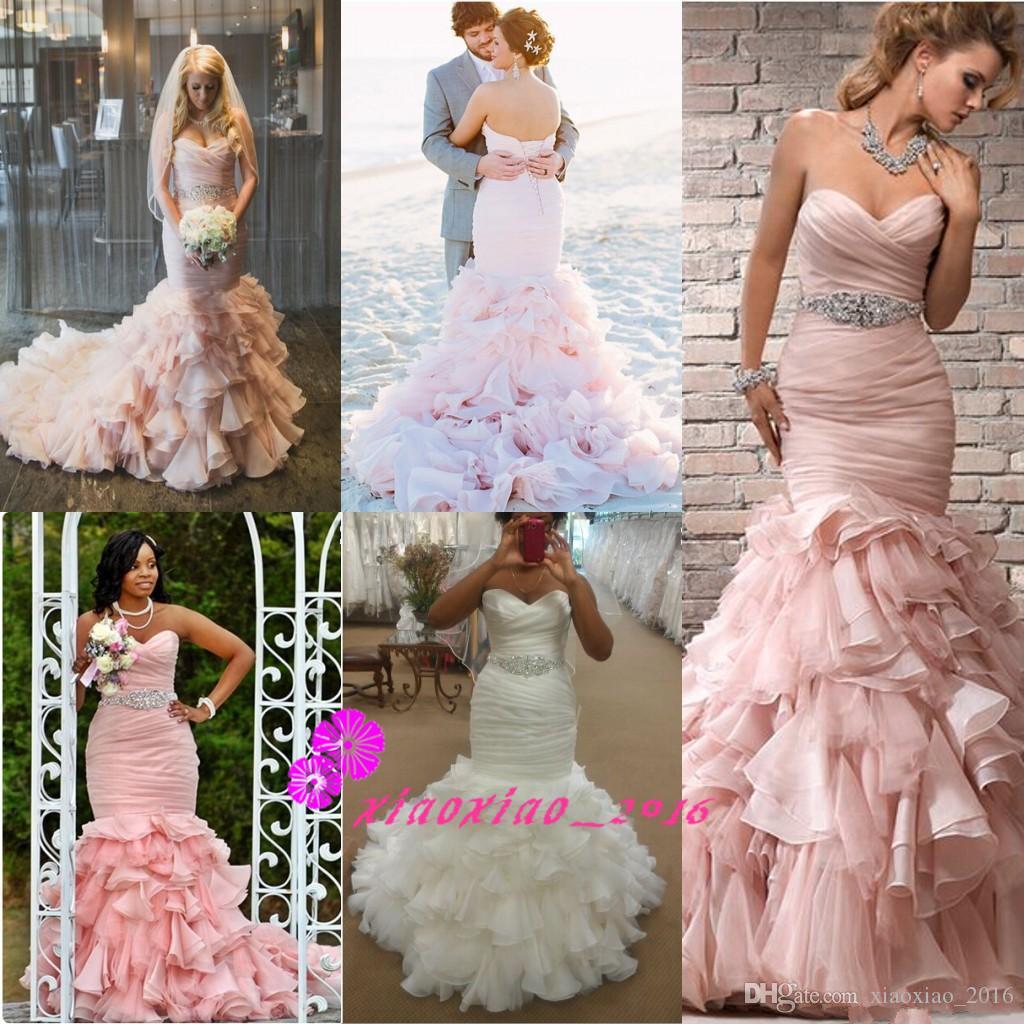 Großhandel Romantische 2016 Bush Rosa Meerjungfrau Brautkleider Mit ...