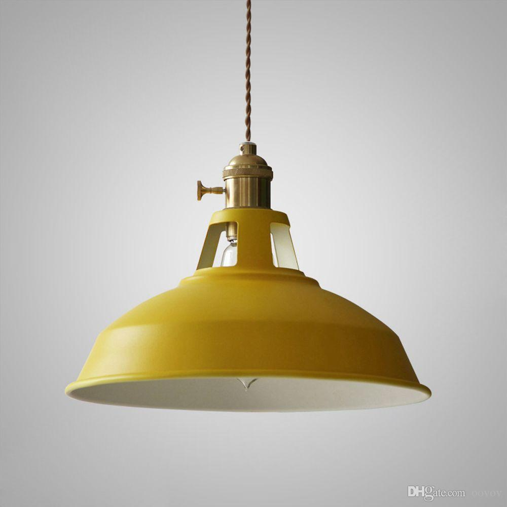 OOVOV Iron Macaron Lid Pendant Lamp Restaurant Balcony Cafe Bar Pendant Light,26.5cm,E27,Grey,White,Red,Green,Blue,Yellow