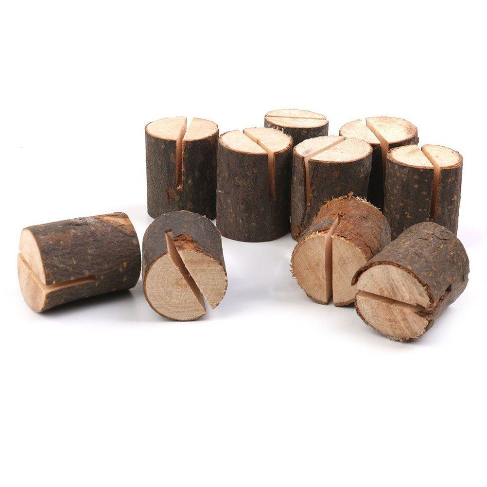 20 teile / los Natürliche Holz Tischkarten Halter Sitz Ordner Rustikalen Fotohalter Hochzeit Tischkarte Tischnummer Halter Home Deco Party Tisch