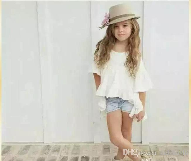 2016 새로운 도착 소녀 공주 드레스 화이트 컬러 사랑스러운 귀여운 소녀 드레스 높은 품질 100 % 코 튼 어린이 의류 키즈 탑 80-130cm