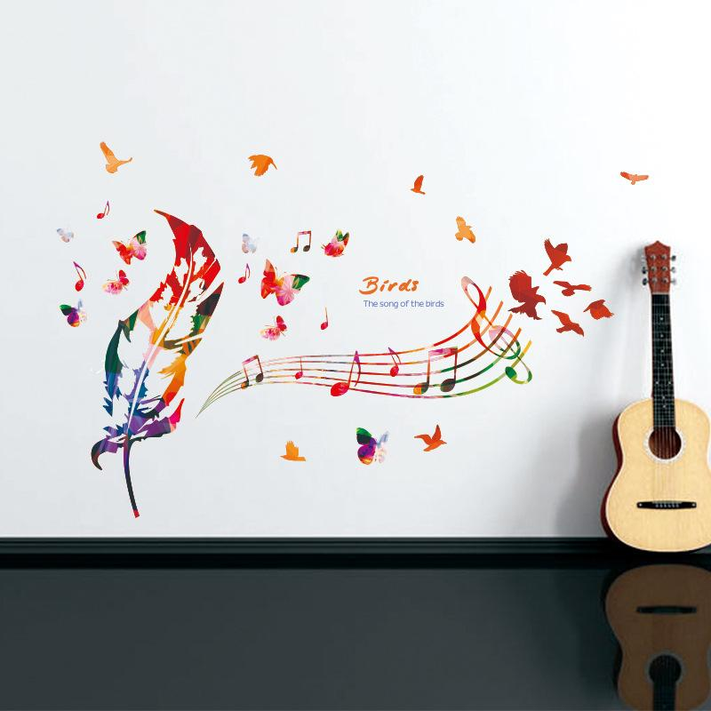119x71cm Colorful Feather Music Note Wall Stickers For Kids Rooms ...