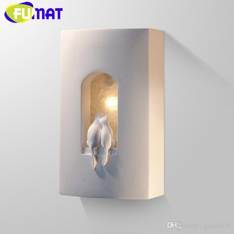 Plaster Cats Wall Lamp For Children Bedroom Bedside Light Aisle