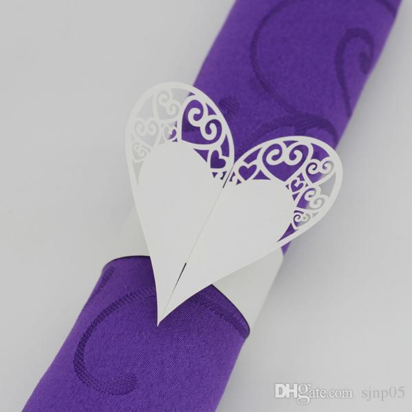 Kalp Tasarım Peçete Sarmalayıcıları Lazer Kesim Kağıt Peçete Halkaları Sahipleri Düğün için Kağıt Peçete Bant Parti Masa Dekorasyon Aksesuarları 200 ADET