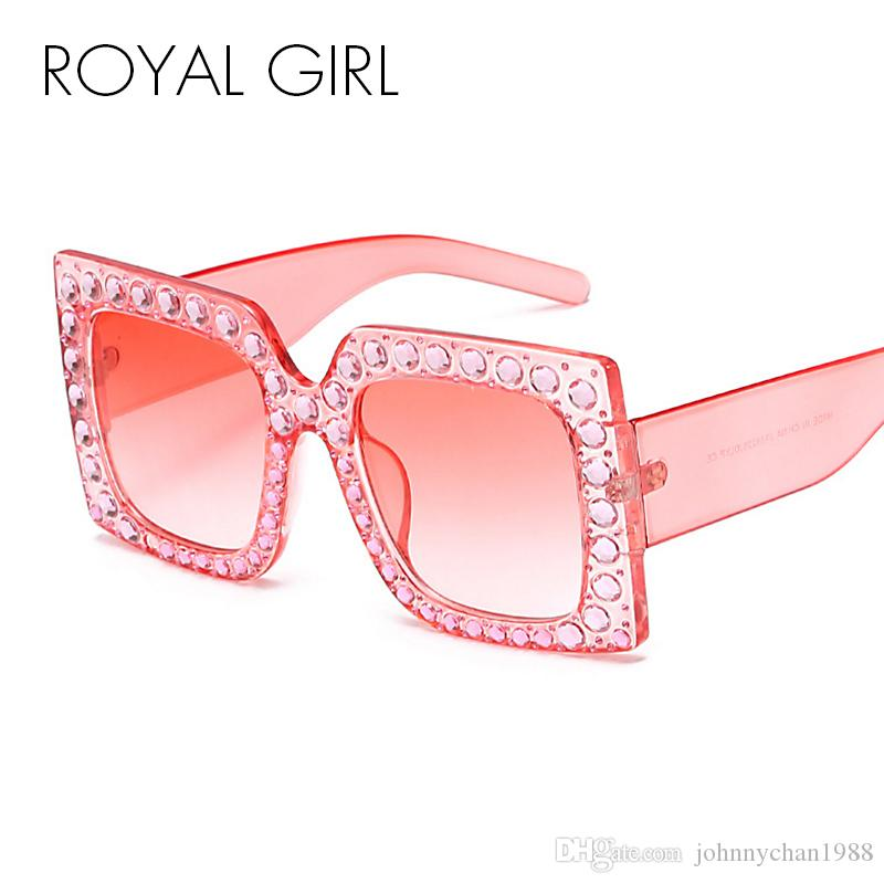 efd8e591168 ROYAL GIRL Retro Brand Designer Women Sunglasses Oversized Crystal Glasses  2017 Shades Square Glasses Online Polarized Sunglasses From Johnnychan1988