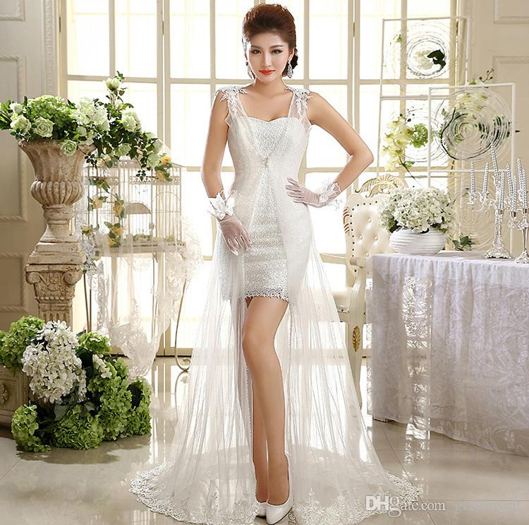 28 Two Piece Wedding Dresses: Lace Applique Chapel Train Wedding Gown Sex See Through
