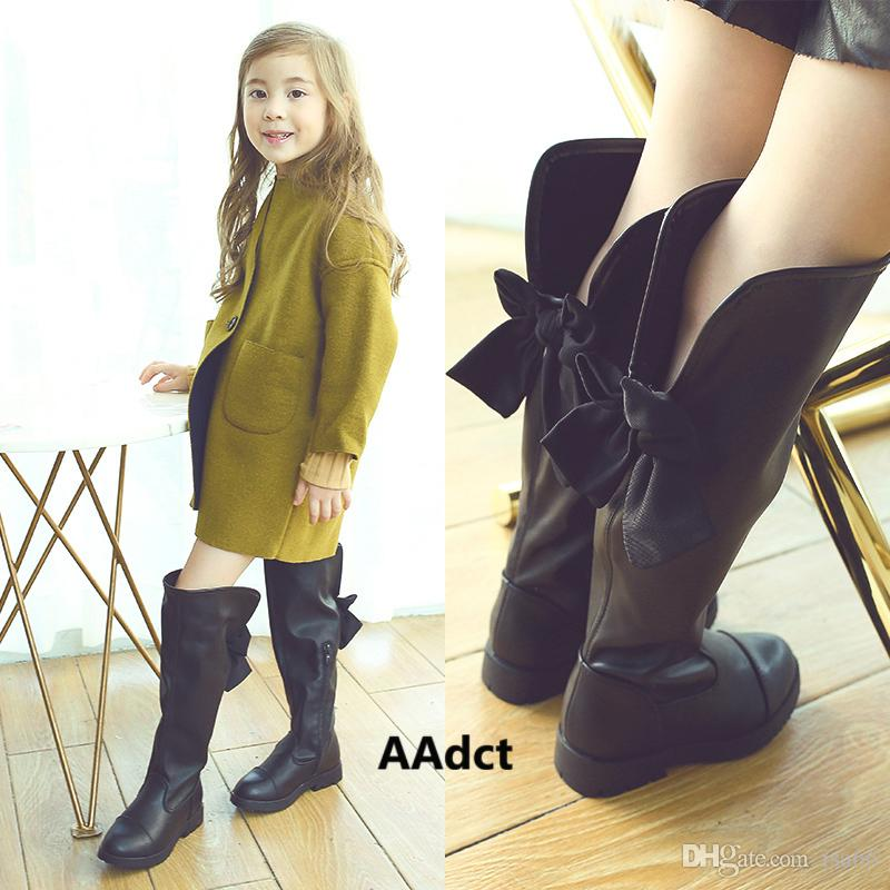 Winter Children Shoes Girls High Boots Kids Black Bow Leather ...