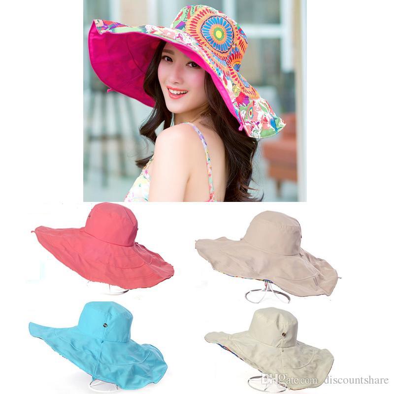 a5c9664c Hiking Summer Beach Wide Brim Sun Visor Neck Protection Reversible  Sunbonnet Hat Cap Neck Protection Reversible Sunbonnet Online with  $9.44/Piece on ...