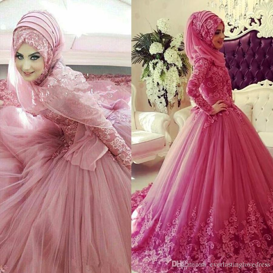 Muslim Wedding Dresses with Color Long Sleeves High Neck Lace ...