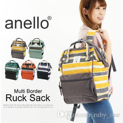 36e395bc0a New ANELLO Japan Stripe Handle Backpack Campus Rucksack Canvas School Bag  Unisex Outdoor Travel Backpack CCA6630 Rucksack Backpack Boys Backpacks  From ...