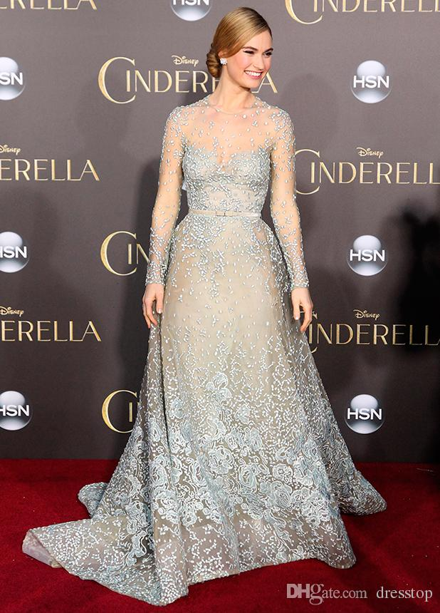 Cinderella Lily James In Elie Saab Celebrity Dresses Sheer Jewel Neck Long Sleeves Lace Prom Gowns Red Carpet Appliqued Tulle Evening Dress