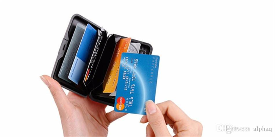 Rfid Travel Card Holder RFID Blocking Credit Card Holder Women Men Waterproof Business ID Card Wallet Case Shiny Metal Cardholder Box