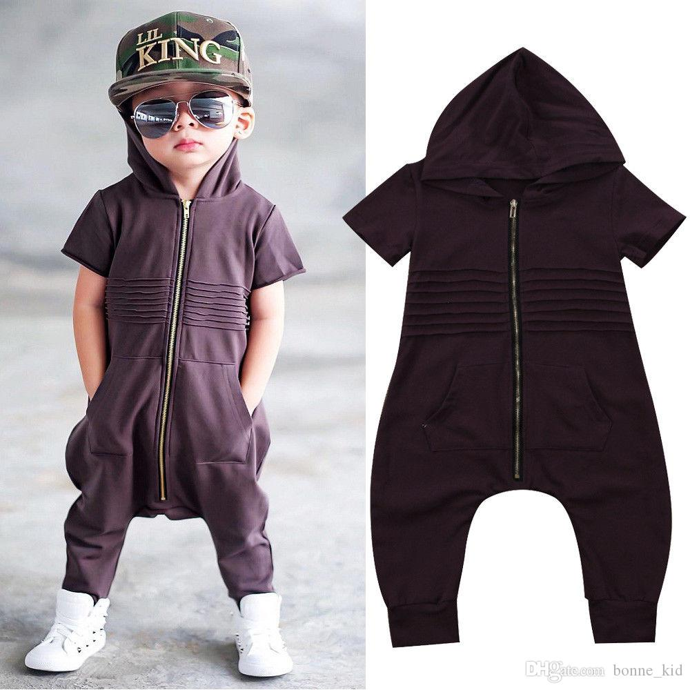 a63fe09feb87 2019 Kids Hoodie Jumsuit Fashion Rompers Kid Clothing Short Sleeve ...