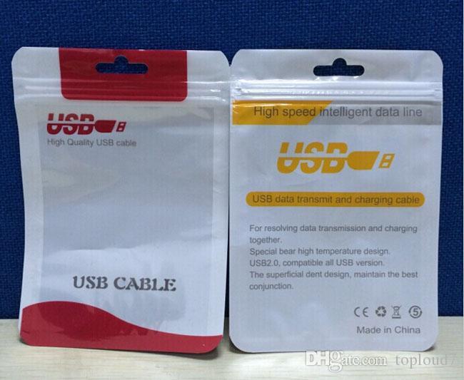 Zipper замок пластиковый OPP поли мешка зарядного устройства USB Синхронизации данные аудио кабель для наушников для iPhone Samsung Galaxy S8 S9 Plus пользовательских печати