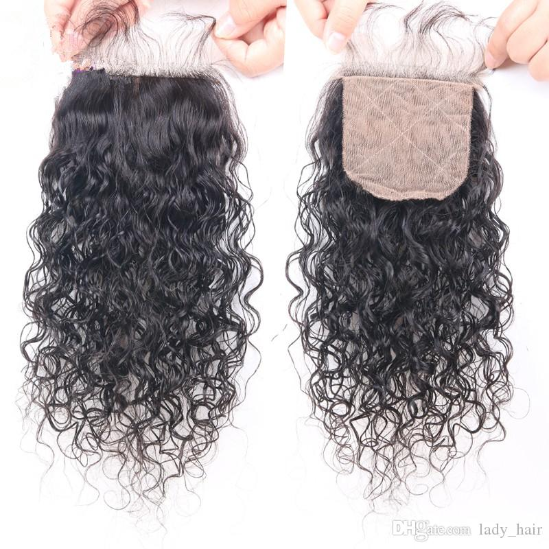 Unprocessed Brazilian Water Wave Human Hair 4x4 Silk Base Closure With 3Bundles Wet and Wavy Virgin Hair With Silk top Closure