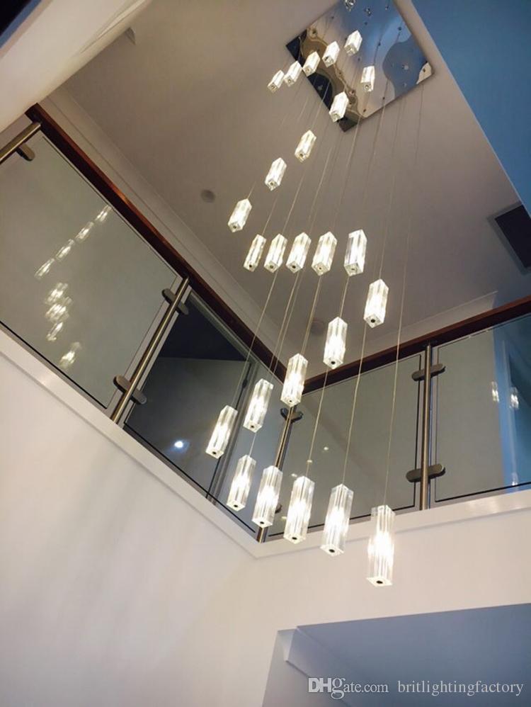 Otel merdiven avize modern aydınlatma fikstür kare avize yağmur damla aydınlatma spiral merdiven kristal avizeler paslanmaz çelik